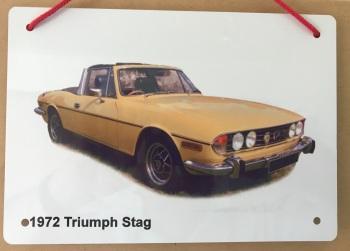 Triumph Stag 1972 - A5 Aluminium Plaque - Ideal Present for the British Car Enthusiast