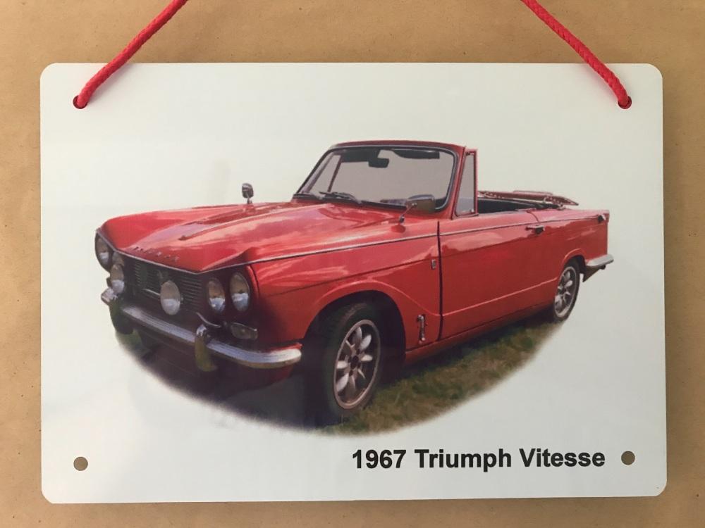 Triumph Vitesse Convertible 1967 - A5 Aluminium Plaque - Ideal Present for