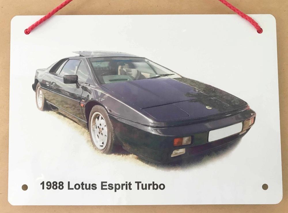 Lotus Esprit Turbo 1988 - A5 Aluminium Plaque - Ideal Present for the Lotus