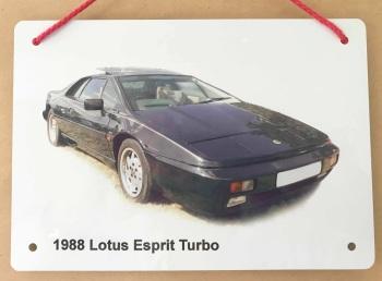 Lotus Esprit Turbo 1988 - A5 Aluminium Plaque - Ideal Present for the Lotus Fan.