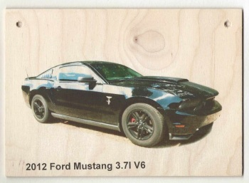 Ford Mustang 3.7l 2012 - Photograph printed on wood (210 x 148mm)