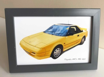 Toyota MR2 Mk1 1989 (Yellow) - Photo (4x6in) in a Charcoal coloured frame - Free UK Delivery