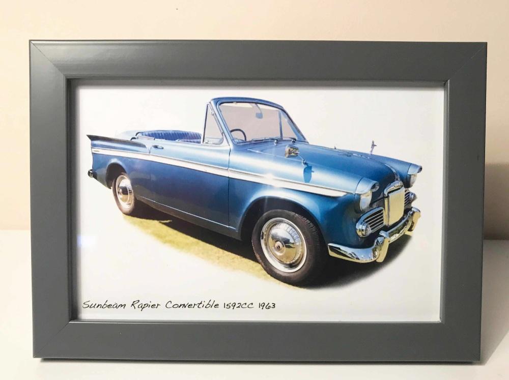 Sunbeam Rapier Convertible 1963 - Photograph in Frame 120 x 170mm - Free UK