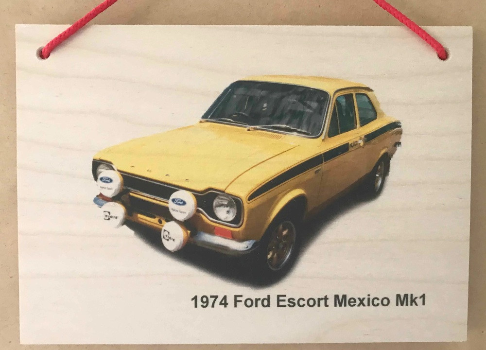 Ford Escort Mk 1 Mexico 1974 (Yellow) - Photograph printed onto Wood (148 x