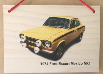Ford Escort Mk 1 Mexico 1974 (Yellow) - Photograph printed onto Wood (148 x 210mm)