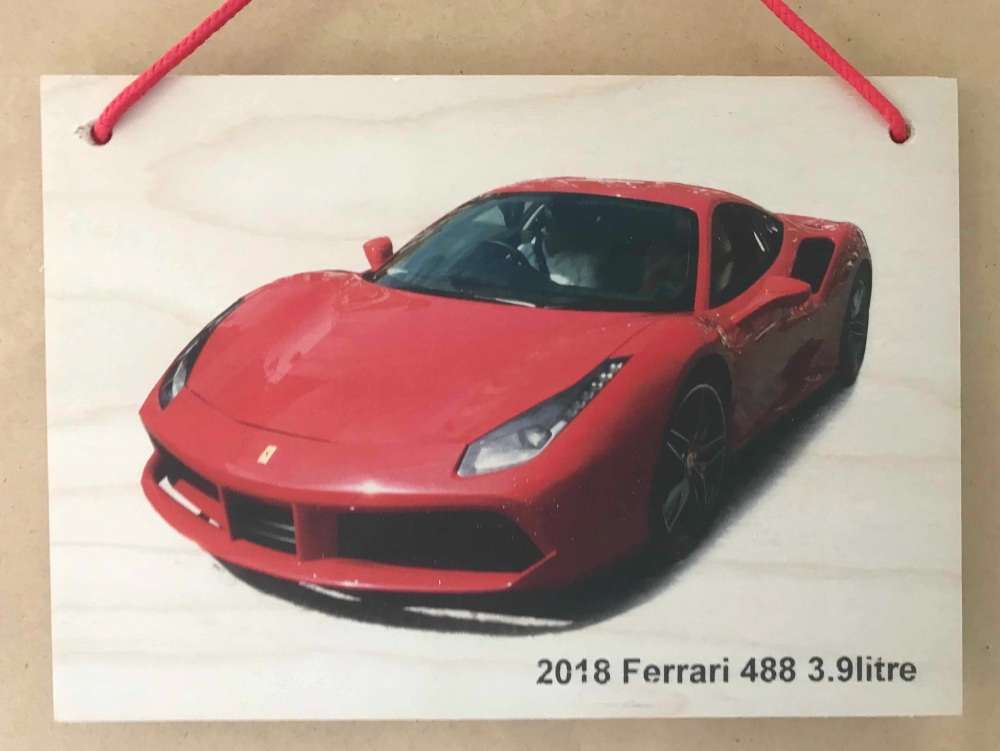 Ferrari 488 3.9litre 2018 (Red) - Photograph printed on Wood Plaque (148x21