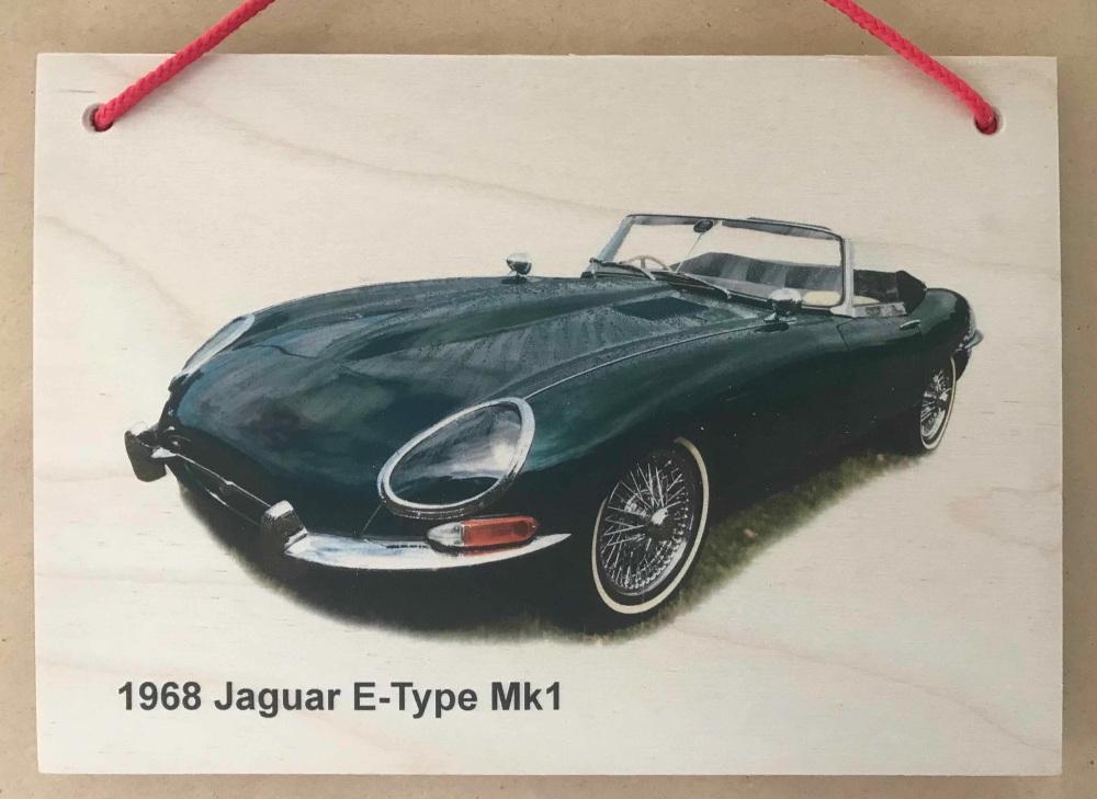Jaguar E-Type Mk1 1988 - Photograph printed onto Wooden Plaque 148 x 210mm