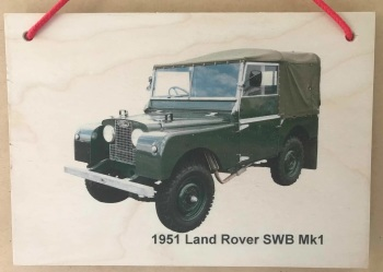 Land Rover SWB Mk1 1951 - Photograph printed onto Wooden Plaque (148x210mm)