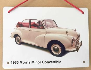 Morris Minor Convertible 1965 (Cream) - Aluminium Plaque 148 x 210mm