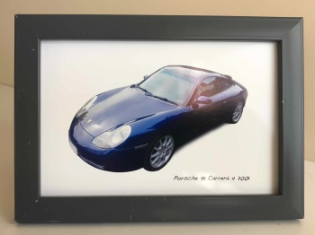 Porsche 911 Carrera 4 2001 - Photo (4x6in) in a Charcoal coloured frame - Free UK Delivery