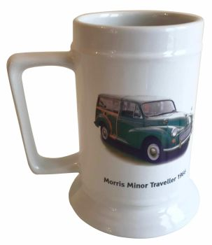 Morris Minor Traveller 1966 (Green) - 18oz Ceramic Tankard - Ideal Gift for the Car Enthusiast