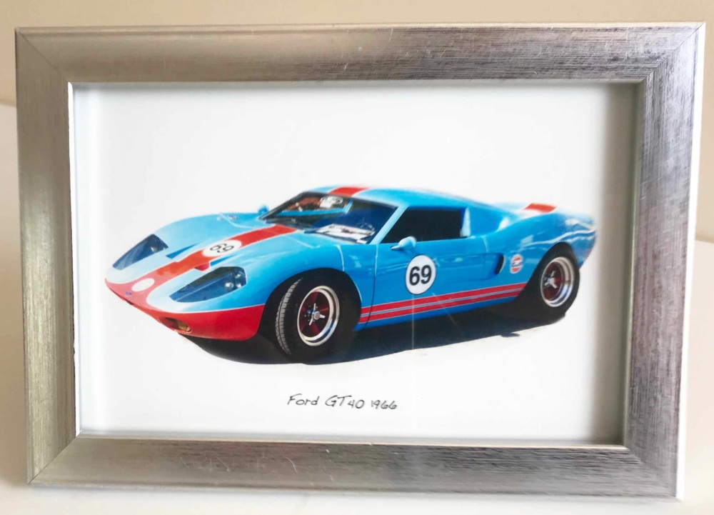 Ford GT40 1966 - Photo in a Silver coloured frame - Free UK Delivery