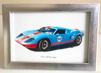 Ford GT40 1966 - Photo (4x6in) in a Silver coloured frame - Free UK Delivery