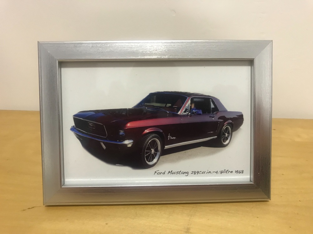 Ford Mustang 289cu in, 4.7litre 1968  - Photo in a Silver coloured frame -