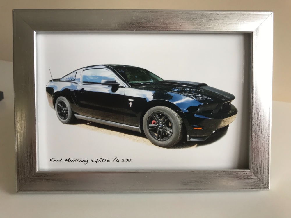 Ford Mustang 3.7l V6 2012  - Photo in a Silver coloured frame - Gift for th
