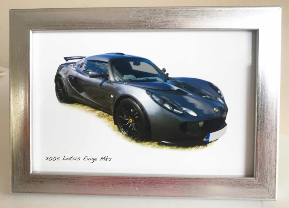 Lotus Exige Mk2 2005 - Photo in a Silver coloured frame - The Perfect Gift