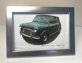 Mini Cooper S 1071cc 1964 - Photo (4x6in) in a Silver coloured frame - Free UK Delivery