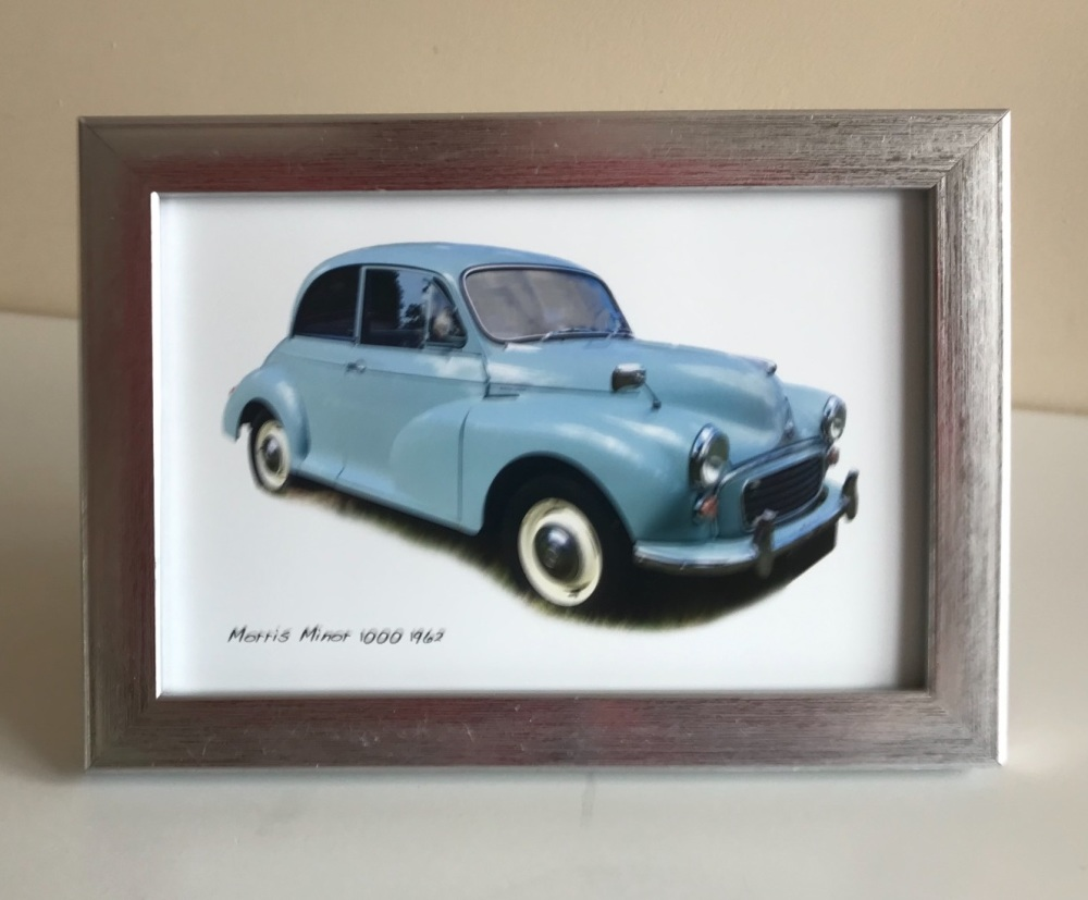Morris Minor 1000 1962 (Pale Blue) -  Photo in a Silver coloured frame - Fr