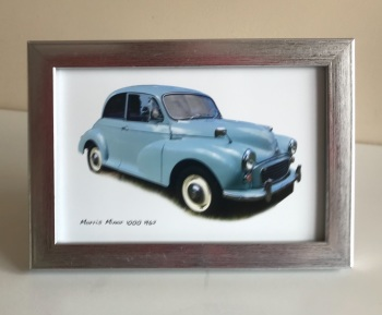 Morris Minor 1000 1962 (Pale Blue) -  Photo (4x6in) in a Silver coloured frame - Free UK Delivery