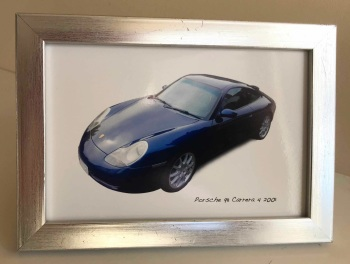 Porsche 911 Carrera 4 2001 - Photo (4x6in) in a Silver coloured frame - Free UK Delivery