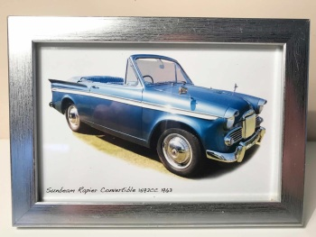 Sunbeam Rapier Convertible 1963 - Photo (4x6in) in a Silver coloured frame - Free UK Delivery
