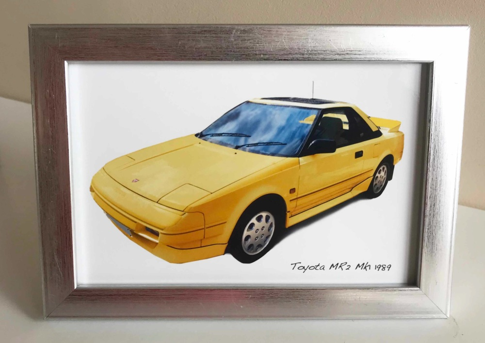 Toyota MR2 Mk1 1989 (Yellow) - Photo (4x6in) in a Silver coloured frame - F