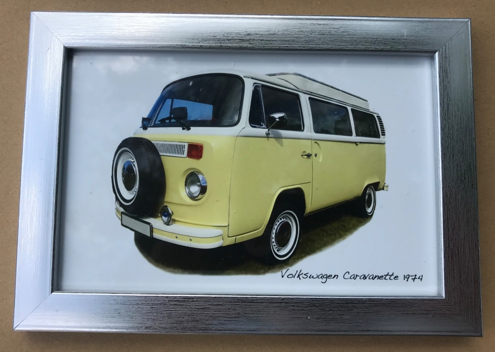 Volkswagen Caravanette 1974 - Photo (4x6in) in a Silver coloured frame- Fre