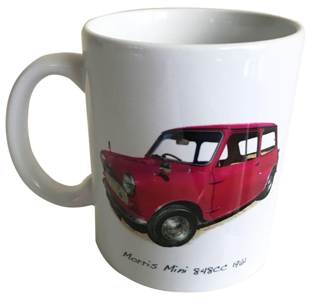 Morris Mini 848cc 1961 - 11oz Ceramic Mug - Memories of your First Car - Fr