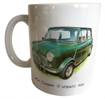 Mini Cooper S 1275cc (Radford) 1966 - Ceramic Mug - Hot Cars from the Sixties - Free UK Delivery