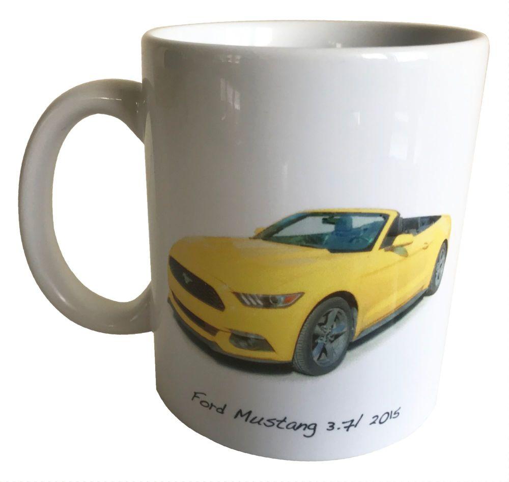 Ford Mustang 3.7l V6 2015 - Ceramic Mug - Ideal Gift for the American Car E