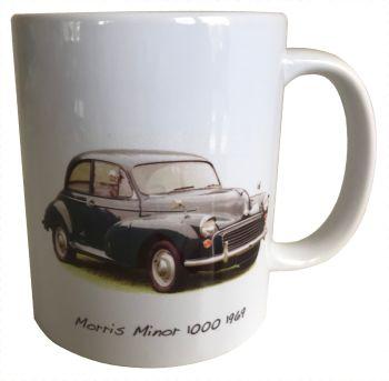 Morris Minor 1000 1969 (Dark Blue) Ceramic Mug - The District Nurse's car? - Free UK Delivery