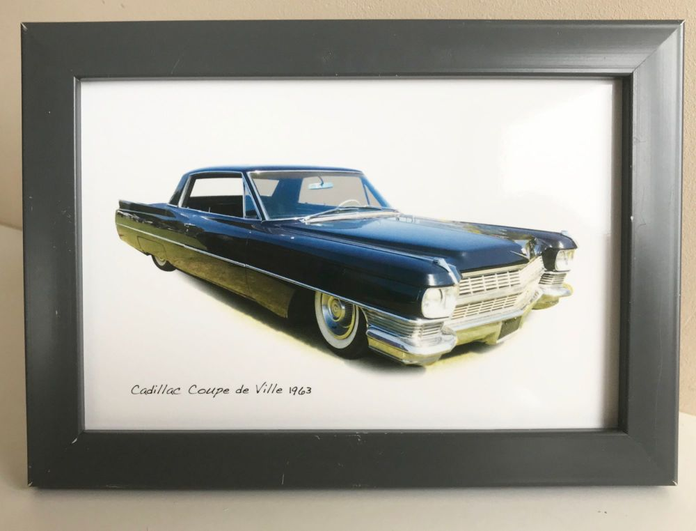 Cadillac Coupe de Ville 1963 - Photo (4x6in) in a Charcoal coloured frame -