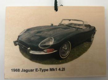 Jaguar E-Type Mk1 1968 - Wooden Plaque 148 x 105mm