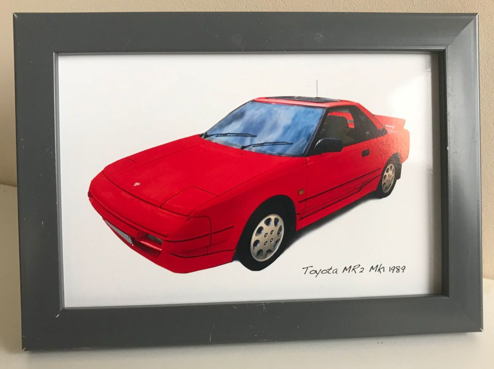 Toyota MR2 Mk1 1989 (Red) - Photo (4x6in) in a Charcoal coloured frame - Fr