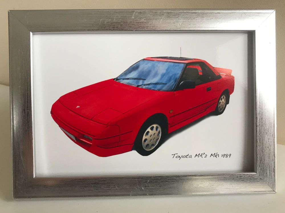 Toyota MR2 Mk1 1989 (Red) - Photo (4x6in) in a Silver coloured frame - Free