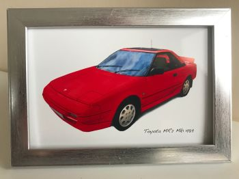 Toyota MR2 Mk1 1989 (Red) - Photo (4x6in) in a Silver coloured frame - Free UK Delivery