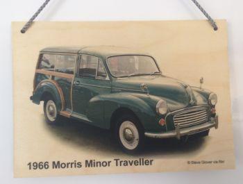 Morris Minor Traveller 1966 (Green)- Wooden Plaque A5 (210 x 148mm)