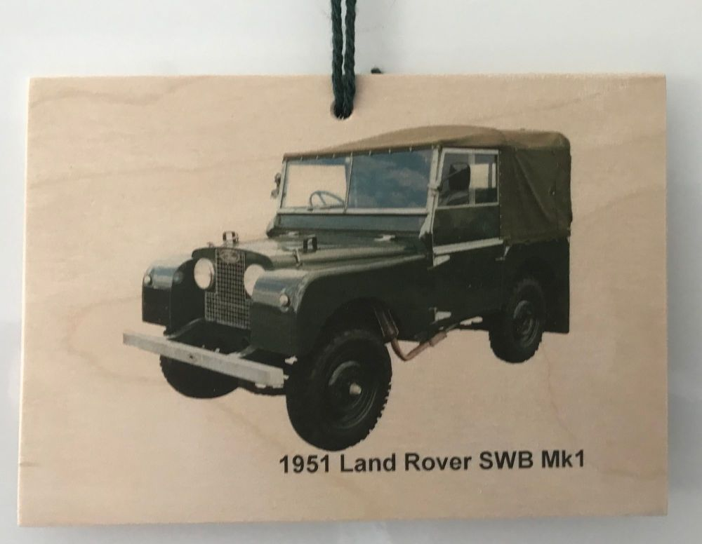 Land Rover SWB Mk1 1951 - Photograph printed onto Wooden Plaque A6 (148x105