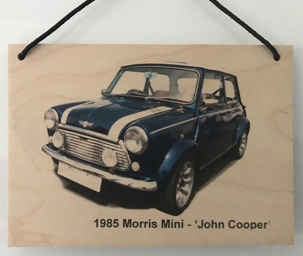Mini 1000le 'John Cooper' edition 1985 - Wooden Plaque A5 (210 x 148mm)