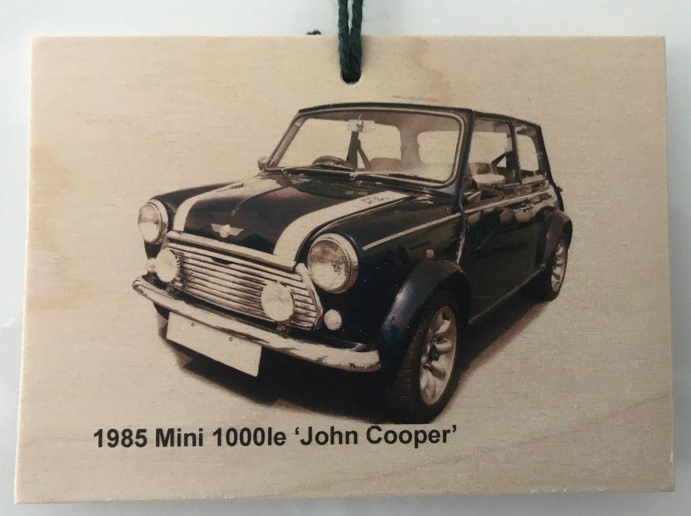 Mini 1000le 'John Cooper' edition 1985 - Wooden Plaque A6 (105 x 148mm)