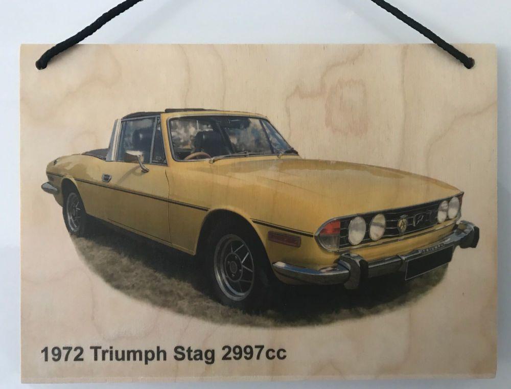 Triumph Stag 2997cc 1972 - Wooden Plaque A5 (210 x 148mm)