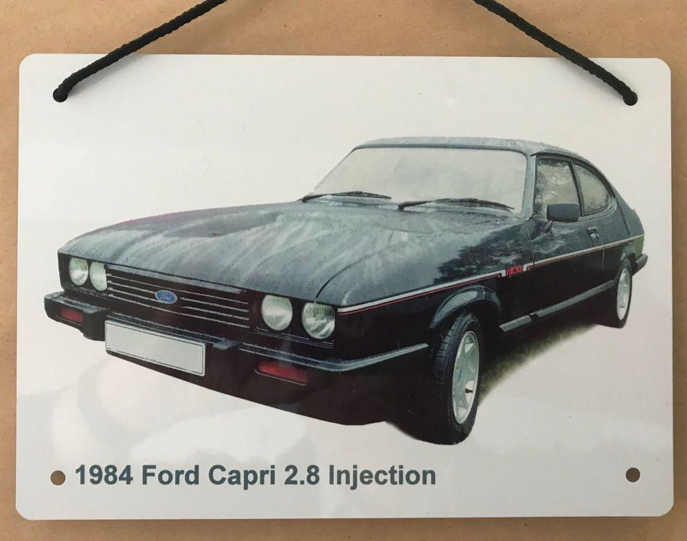 Ford Capri 2.8i 1984 - Aluminium Plaque A5 (148 x 210mm) - Gift for the For