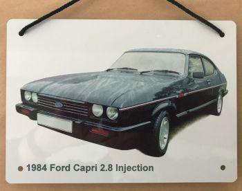 Ford Capri 2.8i 1984 - Aluminium Plaque A5 (148 x 210mm) - Gift for the Ford fanatic