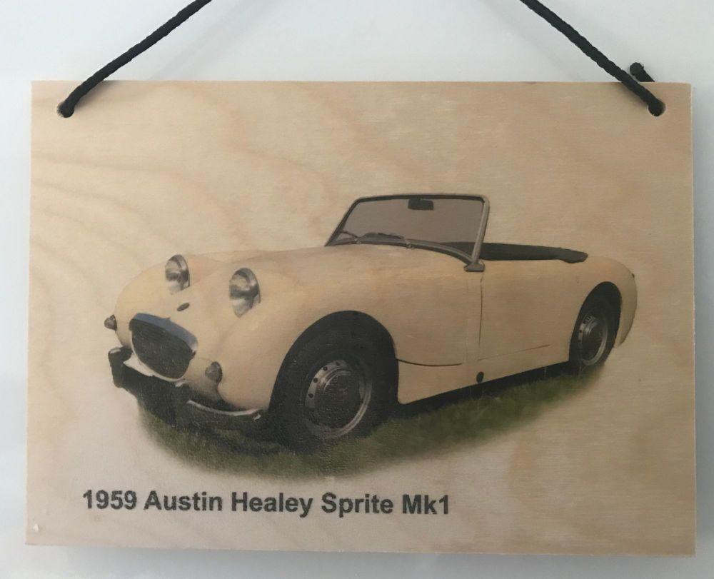 Austin Healey Sprite Mk1 1959 - Wooden Plaque A5(148 x 210mm) - Free UK Del