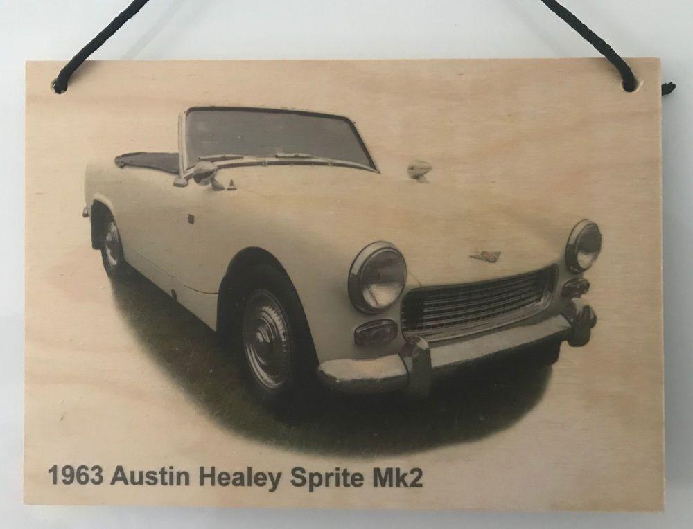 Austin Healey Sprite Mk2 1963 - Wooden Plaque A5(148 x 210mm) - Free UK Del