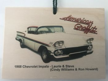 Chevrolet Impala 1958  from the film American Graffiti - Wooden plaque 148 x 105mm