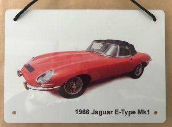 Jaguar E-Type Mk1 1966 - A5 Aluminium Plaque - Ideal Present for the Open Top Enthusiast