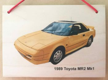 Toyota MR2 Mk1 1989 (Yellow) - Wooden Plaque A5 (148 x 210mm)