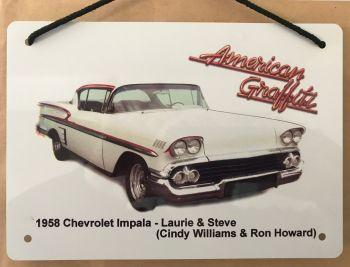 Chevrolet Impala 1958 from the film American Graffiti - A5 Aluminium Plaque - Gift for Film Fan