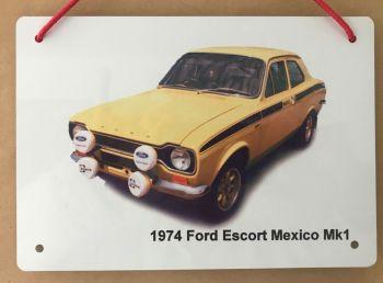 Ford Escort Mexico Mk1 1974 - Aluminium Plaque 148 x 210mm